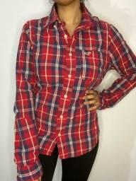 Camisa Hollister P/M vermelha xadrez