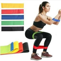 Título do anúncio: Kit 5 Faixas Elásticas Exercício Físico fitness pilates em casa