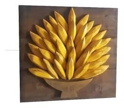 Quadro bananas Madeira maciça