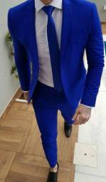 Ternos slim corte italiano Oxford Premium azul - a vista tem desconto