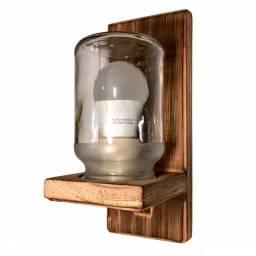 Título do anúncio: Arandela de Madeira com Pote de Vidro (modelo n 1)