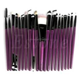 Kit Com 20 Pincéis De Maquiagem Professional Roxo/preto