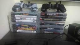 Playstation 3 320gb com dois Controles e 18 jogos, cabo Hdmi e energia