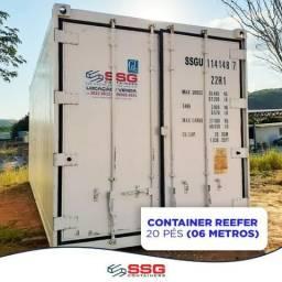 Locação mensal container reefer 20 pés 06 metros aço inox refrigerado congelado