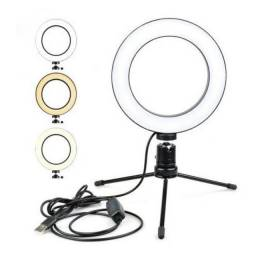 Ring Light De Mesa Iluminador De Led Tripé 6 Polegadas 16cm<br>