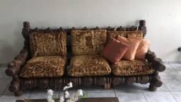 Conjunto de mesa com sofá 100% madeira