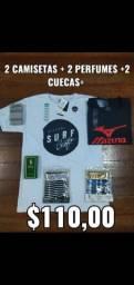 Kit 2 camisetas + 2 perfumes + 2 cuecas