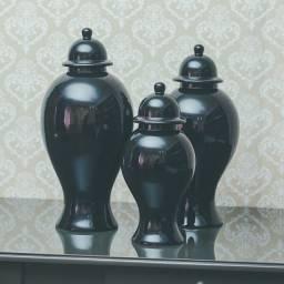 Conj 3 Vasos Potiche - cerâmica