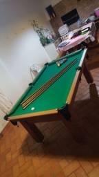 Mesa Tentação Bilhar Cor Cerejeira Tecido Verde Mod. RZDE6115