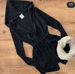 Cardigã preto lãzinha