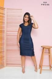 Vestido Jeans Feminino Moda Evangélica Pronto Entrega