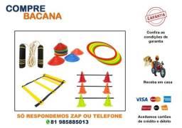 Título do anúncio: Kit Corda Prof Cones Furados Coloridos Pratos Coloridos Argolas Barras Escada PVC