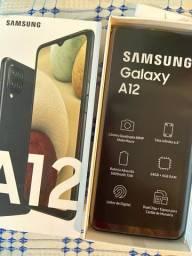 Galaxy A12 64GB 4GB RAM tela de 6.5  Câmera Quádrupla Zero + Garantia + NF