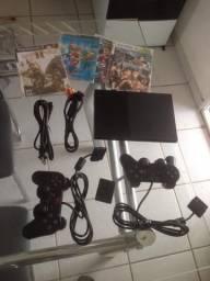 Playstation 2 (PS2) Slim, Destravado, Completo, Bem Conservado, Funcionando Tudo!