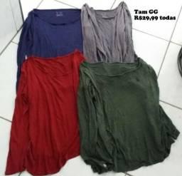 Quatro blusas de manga comprida Tam GG