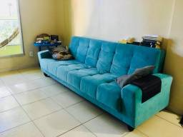 Sofá-Cama 3 lugares Living Azul Turquesa Seminovo