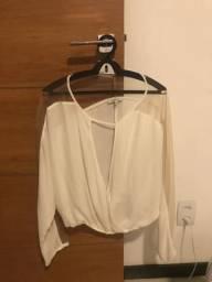 Blusa de crepe com tela