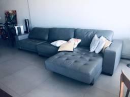 Sofá de couro legítimo cinza