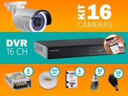 Mega Promoção Kit 16 Câmeras Dvr Nano Led's instaladas Cftv (Brinde Microfone Espião)