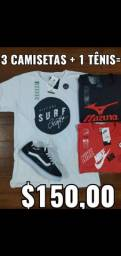 Kit 3 camisetas + tenis