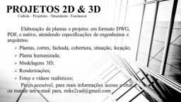 Projetos, Plantas, Modelgaem 3D, Cadista/Projetista
