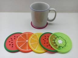 Kit 6 Porta Copos Em Silicone Frutas Bolacha Cerveja Refrigerante