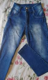 Calça jeans azul cintura alta tm 38