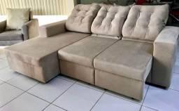 Sofá de 2lug+chaise -retrátil-e reclinável de fábrica 4.580,00 cartão
