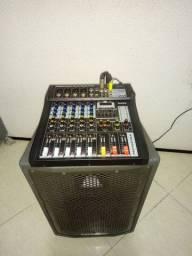 Caixa ciclotron ativa com mesa de som