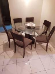 Título do anúncio: Mesa de Jantar Vidro Triangular 6 cadeiras