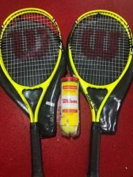 2 raquetes wilson com capa + 3 bolas