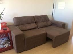 Sofá com assento e encosto reclinável Marrom