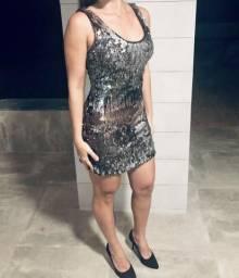 Vestido Prata Lantejoulas