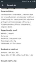 Carregador de celular veicular quick charge 3.0