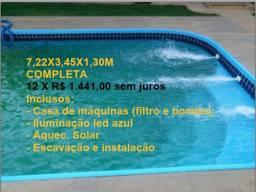 Piscina (Promoção 12X sem juros) 7,22x3,45m, Completa