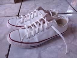 All Star branco de couro