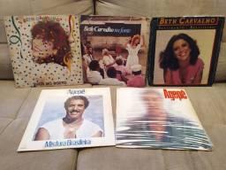 LPs disco de vinil Beth Carvalho e Agepê. lote 5 discos
