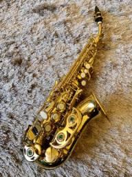 Sax Soprano Curvo Eagle Sp 508 Laqueado Com Estojo