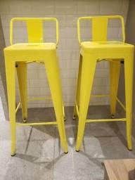 Título do anúncio:  2 Banquinhos altos- Iron amarelo com encosto