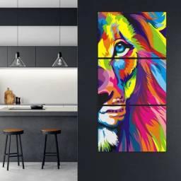 Quadro Decorativo Leão Colorido 3 Peças outros modelos - Pronta entrega
