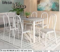 Mesa Sara com 6 Cadeiras - Frete Grátis para Arapongas e região.