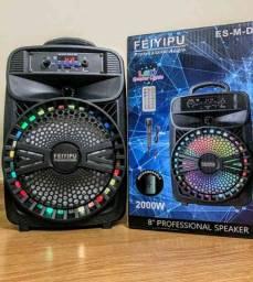 Caixa de Som 2000W Feiyipu Bluetooth Microfone e Controle! ?