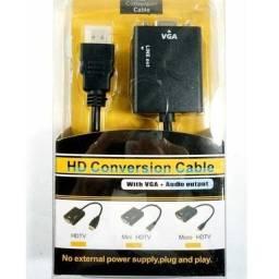Título do anúncio: Cabo Adaptador HDMI x VGA com Áudio - Realengo