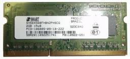 Memória 2gb 10600 Smart Ddr3 Notebook 1333mhz Pc3