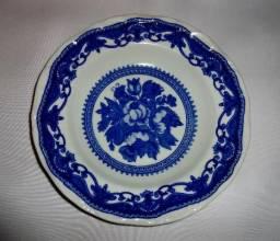 Jogo 6 pratos azul branco Steatita fundos sopa