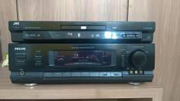 Receiver Philips FR-732, 5.1 canais, mais DVD Player JVC