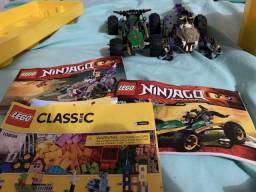 Caixa completa de Lego mais 2 carrinhos de Lego montados