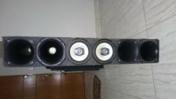 Caixa com 4 cornetas e par de Pioneer