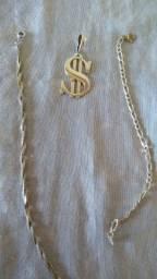 Pingente e pulseira de prata