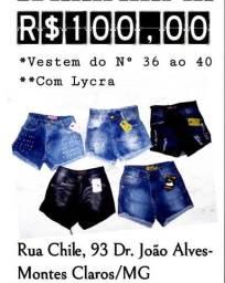 5 Shorts jeans por apenas 100 reais numeração 36 ao 40